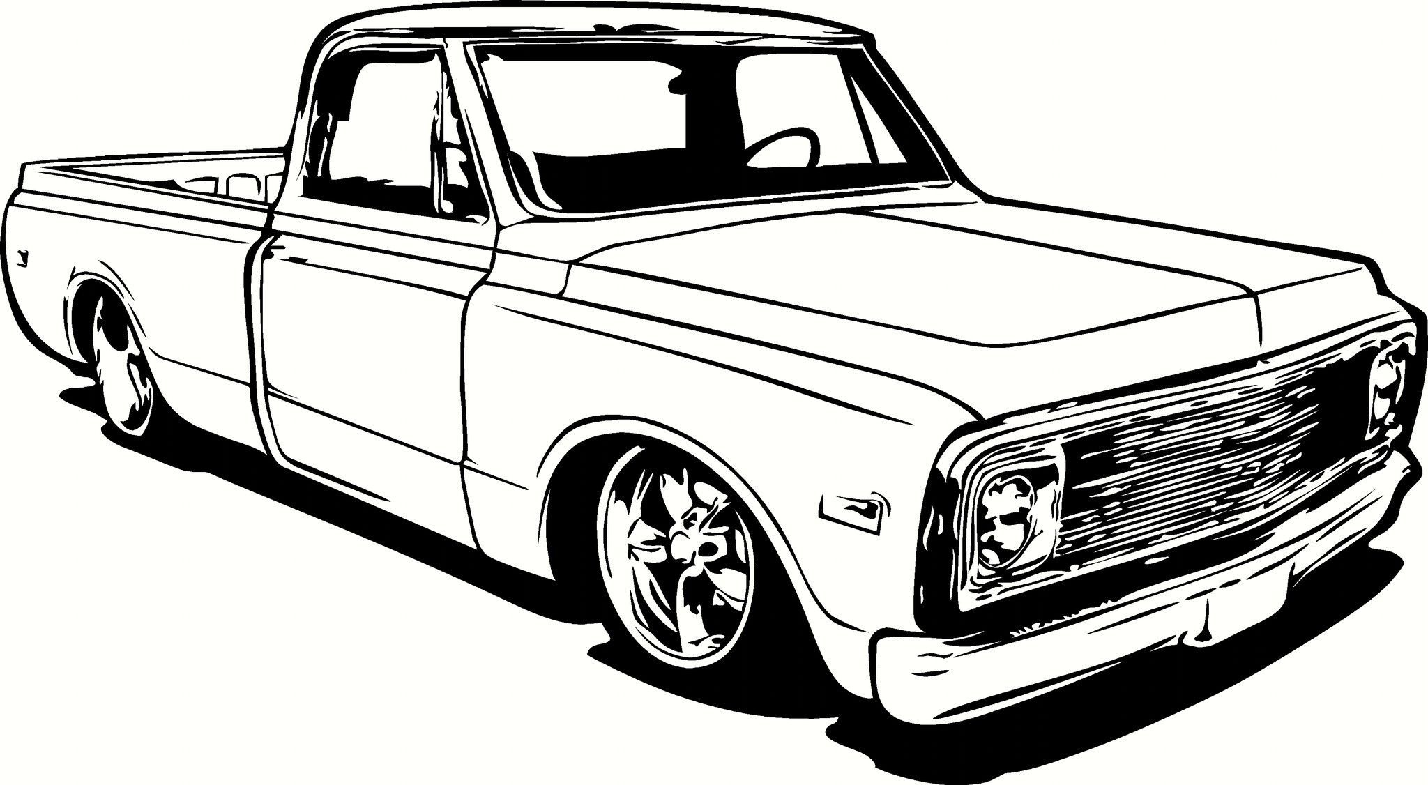 72 chevy pick up clipart black and white clip freeuse 1970 Chevrolet C10 Pick Up Truck Vinyl Cut Out Decal, Sticker ... clip freeuse
