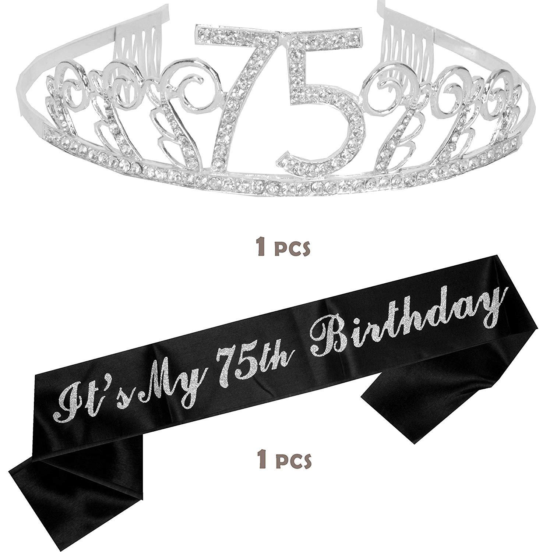 75th Birthday Tiara and Sash, Happy 75th Birthday Party Supplies, 75 &  Fabulous Black Glitter Satin... jpg download