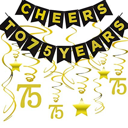 75th BIRTHDAY PARTY DECORATIONS KIT - Cheers to 75 Years Banner, Sparkling  Celebration 75 Hanging Swirls, Perfect 75 Years Old Party Supplies 75th ... banner transparent library