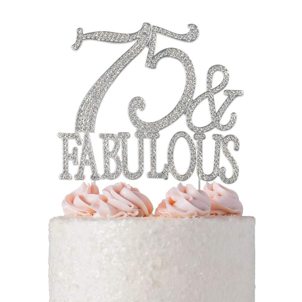 Amazon.com: 75 & Fabulous Rhinestone Cake Topper   Premium Bling ... svg freeuse stock