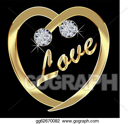 Vector Clipart - Gold heart with diamonds and bling. Vector ... clip free stock
