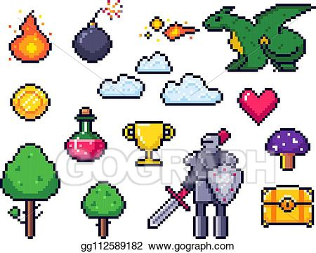 8 bit clipart potion picture freeuse Vector Stock - Pixel game elements. pixelated warrior and 8 bit ... picture freeuse