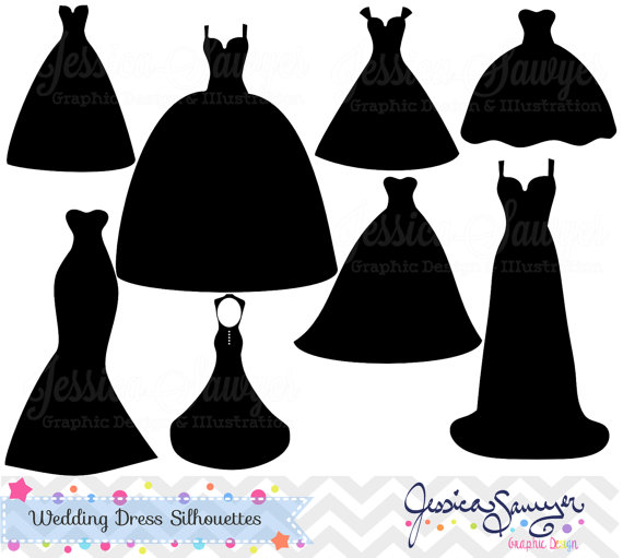 Bridesmaid dress clipart freeuse download INSTANT DOWNLOAD, wedding dress clipart, silhouette clipart, for ... freeuse download