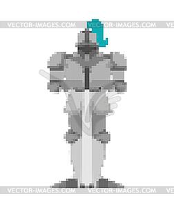 8 bit warrior clipart banner black and white download Knight pixel art. Metal armor warrior 8 bit. Digita - vector EPS clipart banner black and white download