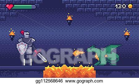 8 bit warrior clipart image transparent stock Vector Art - Pixel art game level. hero warrior fights 8 bit dragon ... image transparent stock