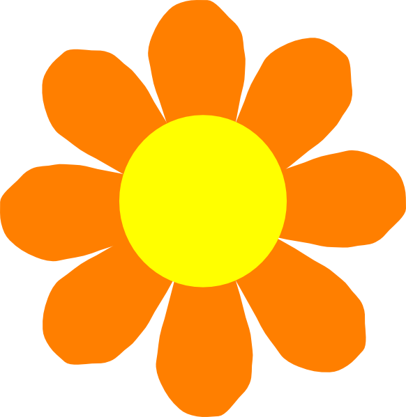 8 petal flower clipart vector free download Orange Flower Clip Art at Clker.com - vector clip art online ... vector free download