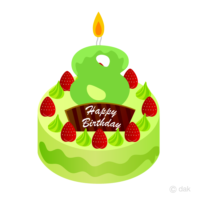 8 years clipart jpg free stock 8 Years Old Candle Birthday Cake Clipart Free Picture|Illustoon jpg free stock