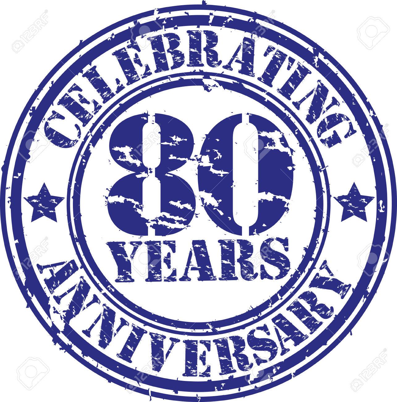 Célébration De 80 Ans D'anniversaire Timbre En Caoutchouc Grunge ... png free download