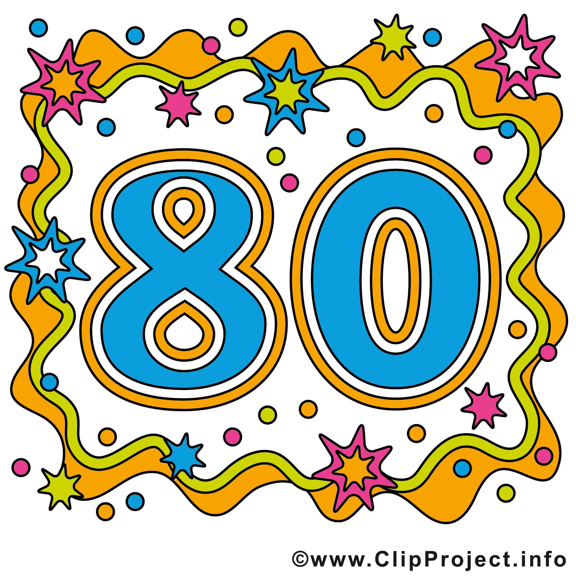 80 ans clipart – Anniversaire dessins gratuits - Anniversaire ... picture transparent stock