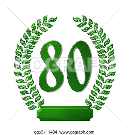 80 clipart. Stock illustration green laurel