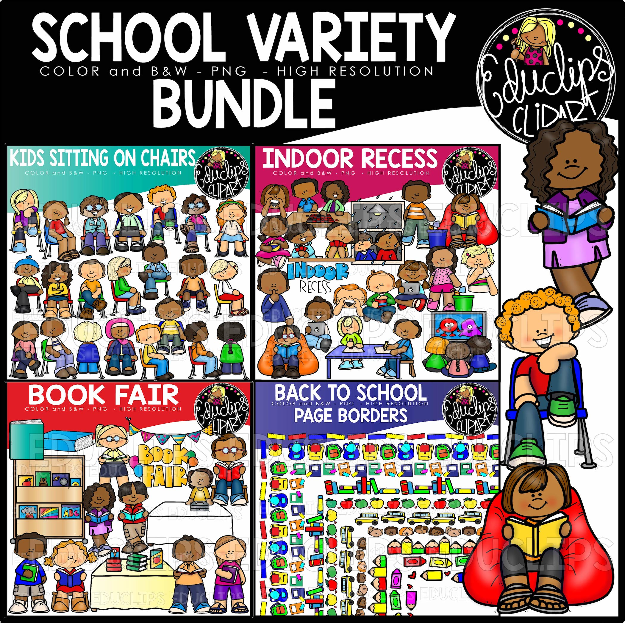 80 s day book fair clipart graphic library School Variety Clip Art Bundle graphic library