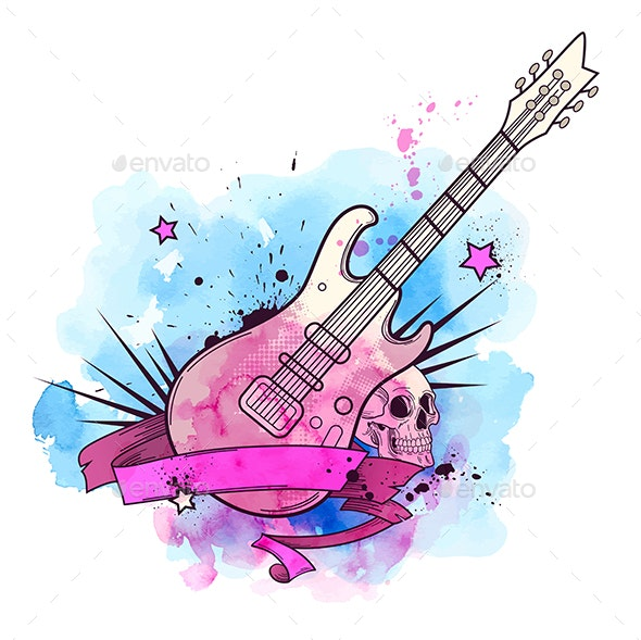 80 s electric guitar clipart svg black and white download Watercolor Background with Electric Guitar svg black and white download