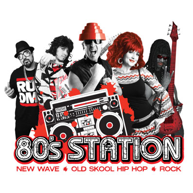 80s Station | picture black and white library