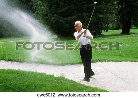 80 year old clipart picture royalty free Stock Photo of 80 year old senior citizen blasting golf shot out ... picture royalty free