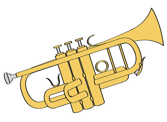 Trumpet clipart for preschool vector royalty free download Trumpet Illustration Digital Download/ Music Clip Art/ Trumpet Clip ... vector royalty free download