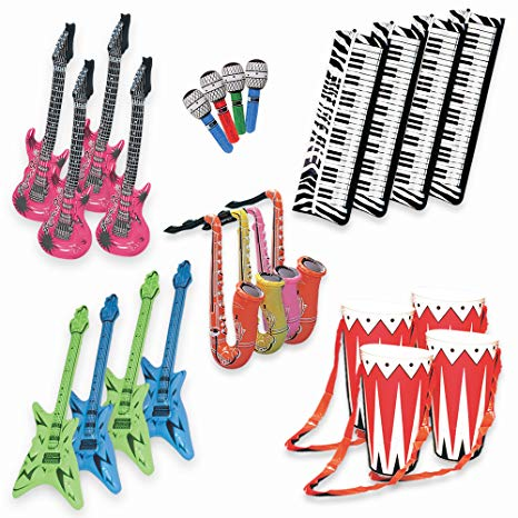 80s band instruments clipart vector freeuse library Band On The Run - Inflatable Musical Rock Band Instruments - 24 Piece Kit vector freeuse library
