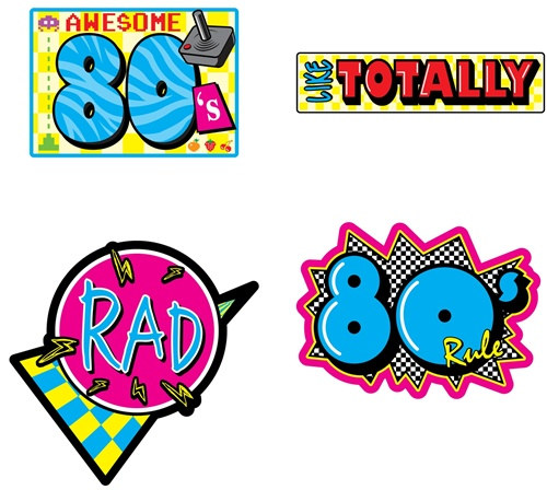 80s birthday clipart picture freeuse stock Awesome 80\'s Cutouts (4/pkg) picture freeuse stock