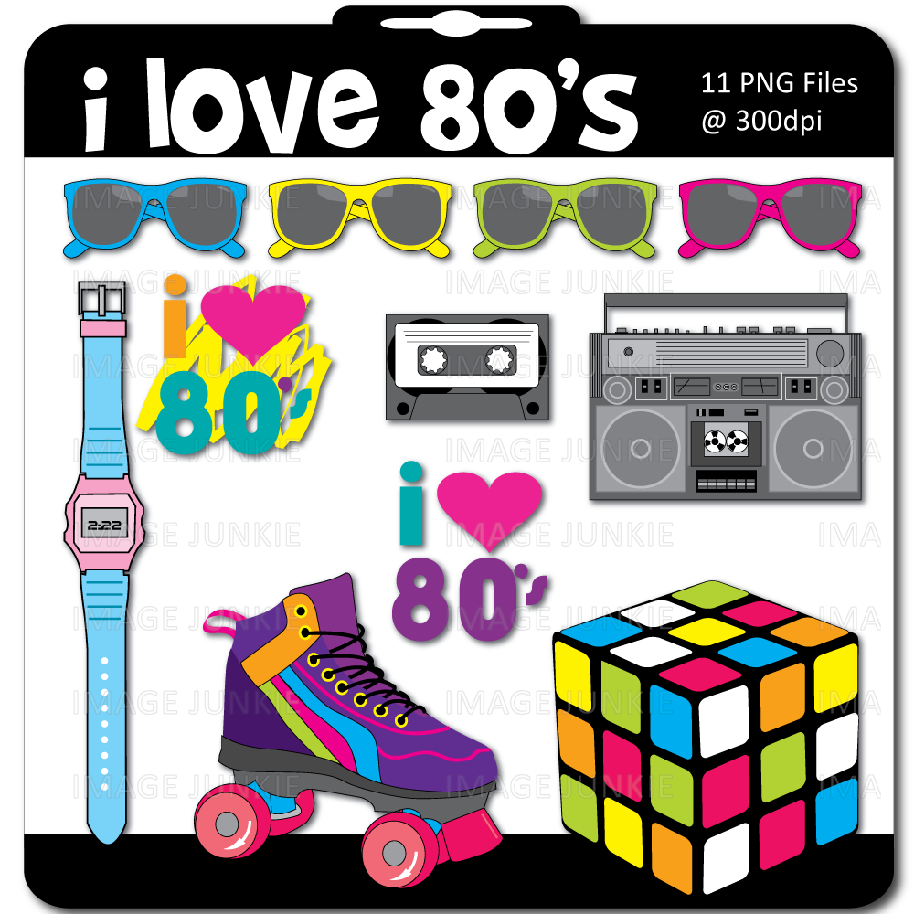 80s birthday clipart jpg free stock Image detail for -80\'s Theme Digital Scrapbook Pack includes a ... jpg free stock