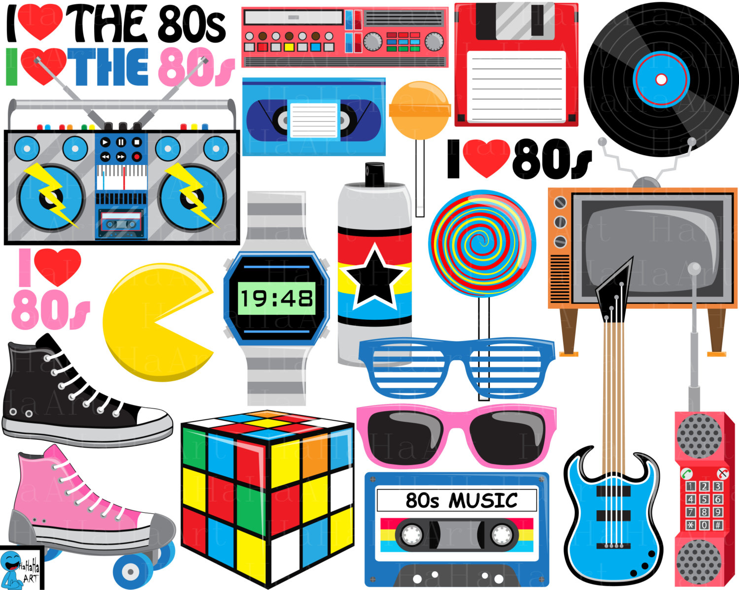 I love the s. 80s boombox clipart