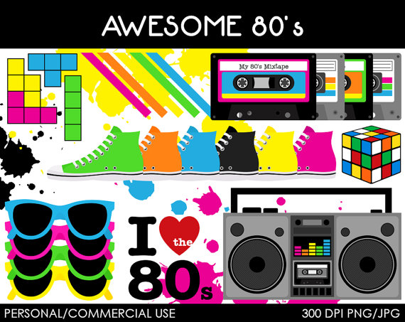 80s Clipart - Clipart Kid svg black and white stock