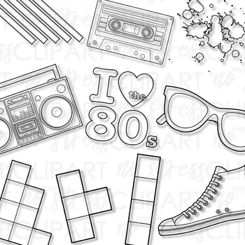 80s clipart black and white clipart black and white Awesome Eighties Clip Art (Digital Use Ok!) clipart black and white