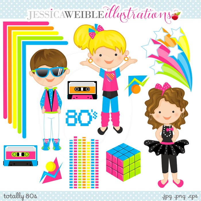 80s clipart images free stock Totally 80s Cute Digital Clipart Commercial Use OK 80s free stock
