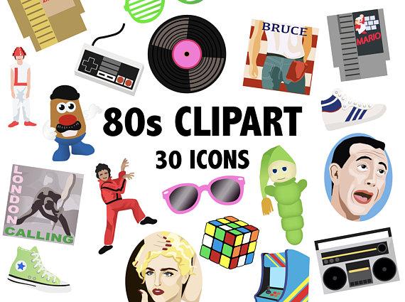 80\'S CLIPART - retro digital 1980\'s icons - nintendo, madonna ... transparent stock