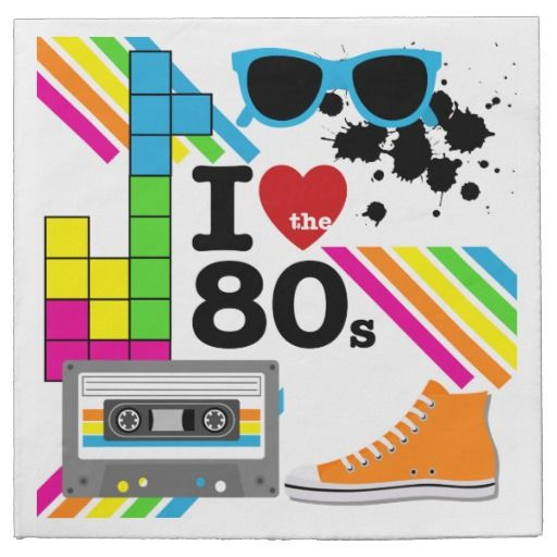 80s party invite clipart black and white I Love the 80s Paper Napkins | Zazzle.com in 2019 | Paper Napkins ... black and white