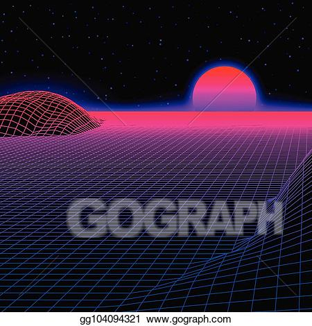 80s sun clipart png library download EPS Illustration - Landscape with wireframe grid of 80s styled retro ... png library download