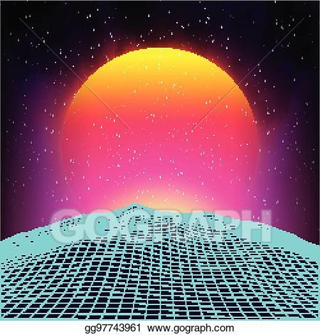 80s sun clipart image download EPS Vector - Retro background futuristic landscape 1980s style ... image download