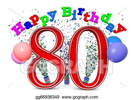 80th clipart banner freeuse Stock Illustration - Happy 80th birthday. Clipart Illustrations ... banner freeuse