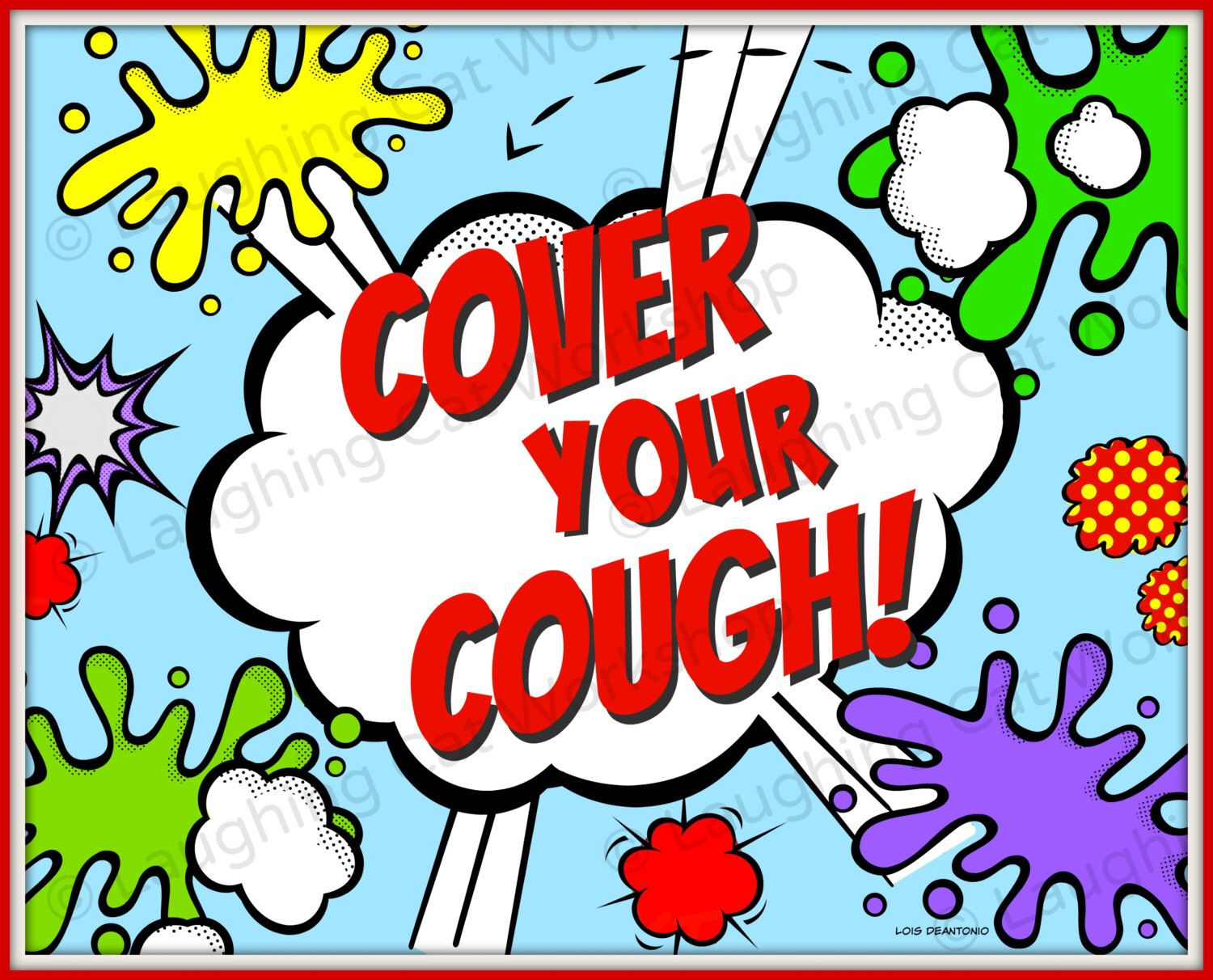 Cover Your Cough Funny superhero comic print Back to School Nurse ... graphic black and white download