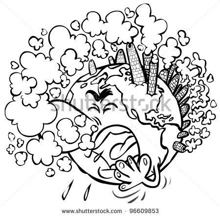 Earth having a cough. Outline drawing. - stock photo | drawing in ... svg freeuse stock