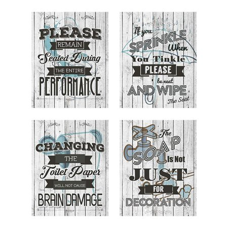 Business Basics Bathroom Quotes and Sayings Rustic Shabby Chic Art Prints |  Set of Four Pictures 8x10 Unframed | Great Gift for Bathroom Décor | ... graphic black and white