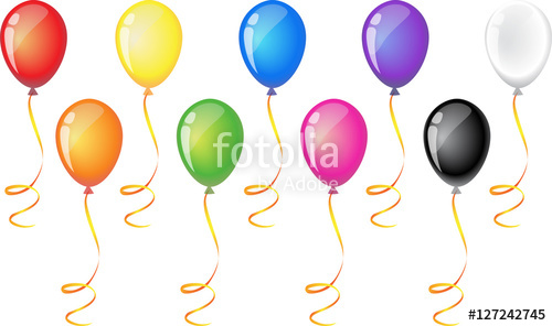 9 balloons clipart picture black and white stock Nine balloons with ribbon isolated on white background. Balloon icon ... picture black and white stock