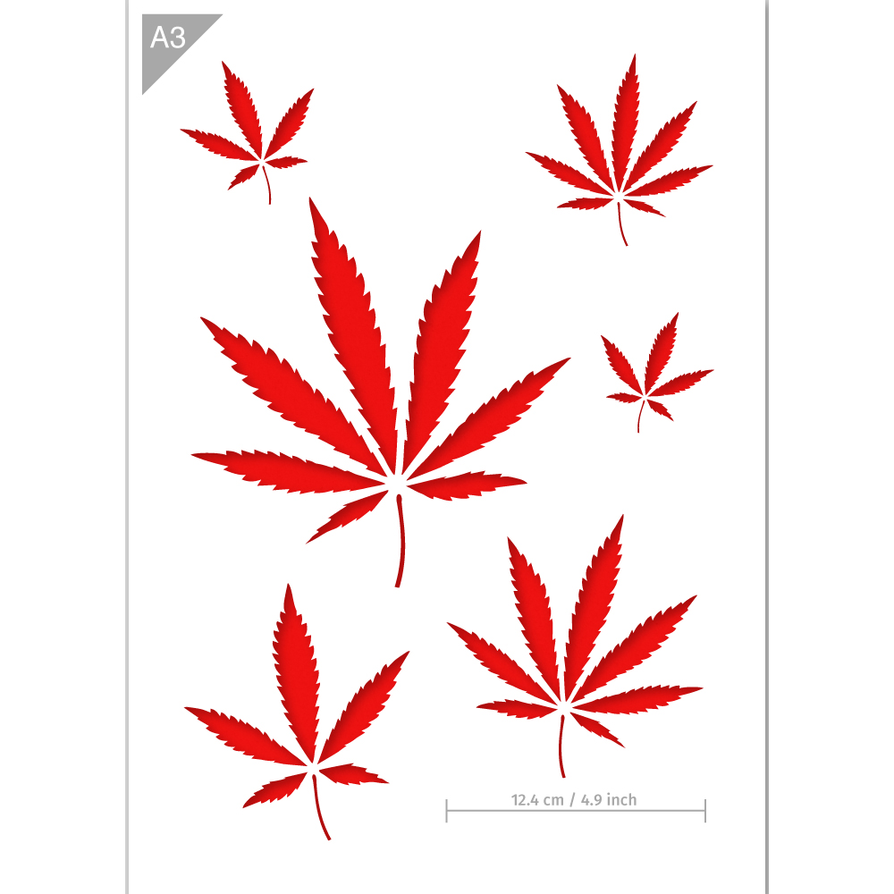 9 inch cannabis clipart png black and white Cannabis Stencil - Weed Stencil - A3 Size Stencil png black and white