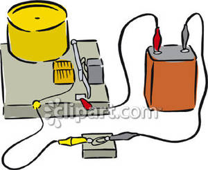 Battery clipart 9v clipart transparent stock 9-Volt Battery Attached To A Motor - Royalty Free Clipart Picture clipart transparent stock