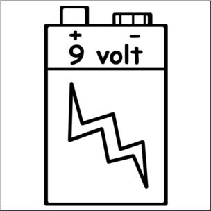 9 volt clipart clip freeuse library Clip Art: Electricity: 9 Volt Battery B&W I abcteach.com | abcteach clip freeuse library