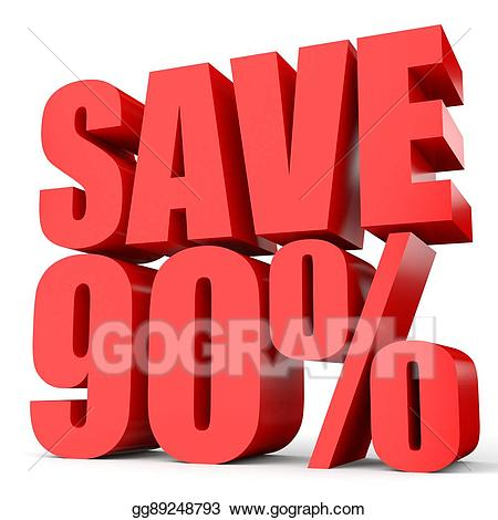 Stock Illustration - Discount 90 percent off. 3d illustration on ... clip art library stock