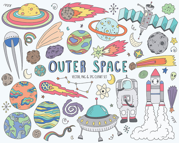 90 s clipart doodles png vector Space Clipart - Cute Space Doodles Clip Art Set - Vector, PNG & JPG ... vector