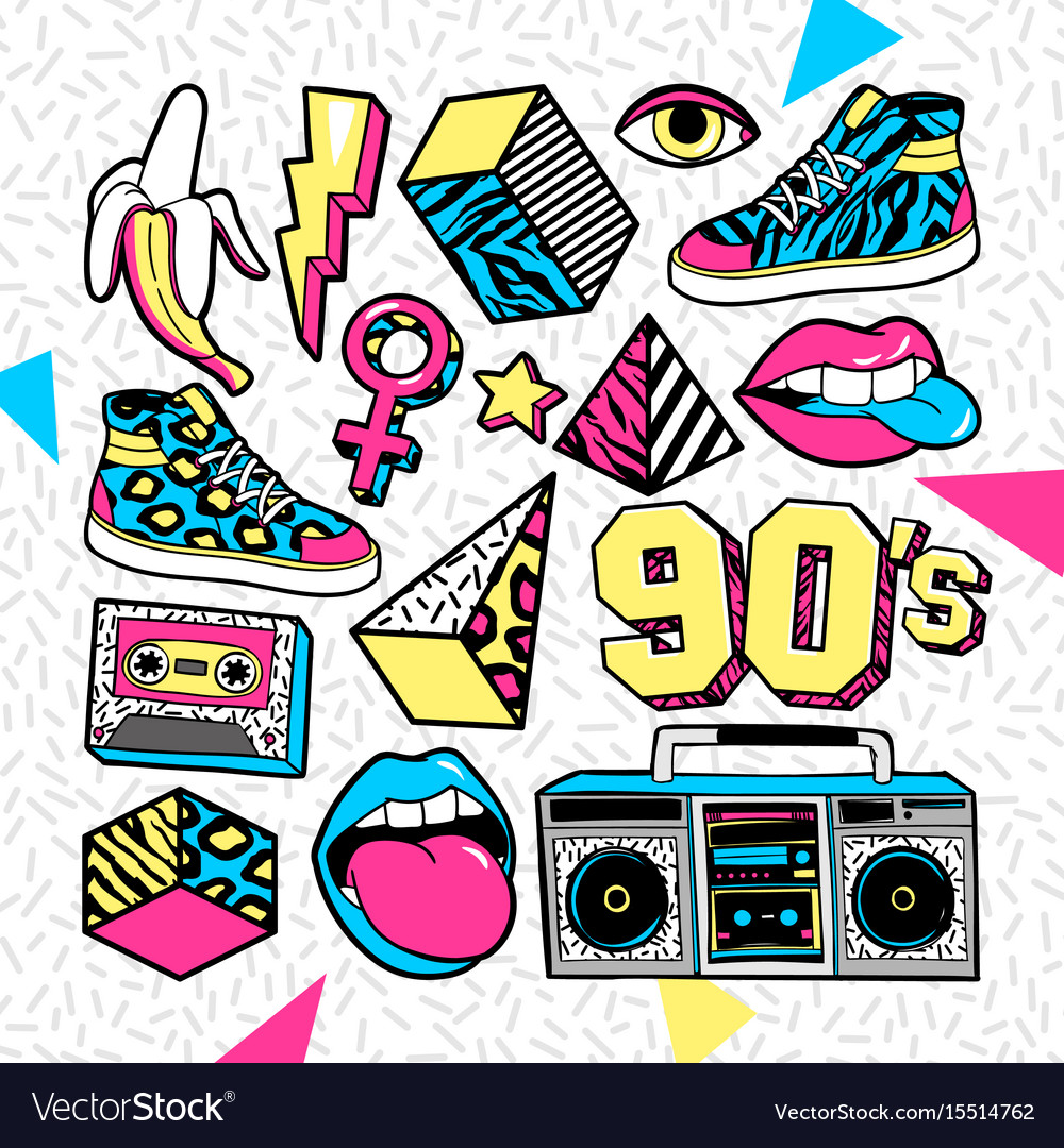 90 s clipart doodles png royalty free Fashion patches in in 80s-90s memphis style royalty free