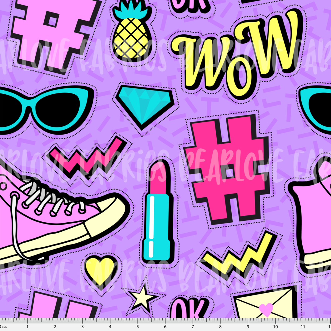 90 s clipart doodles png image free stock Purple Neon/80s/90s Doodle Fabric (Preorder) image free stock