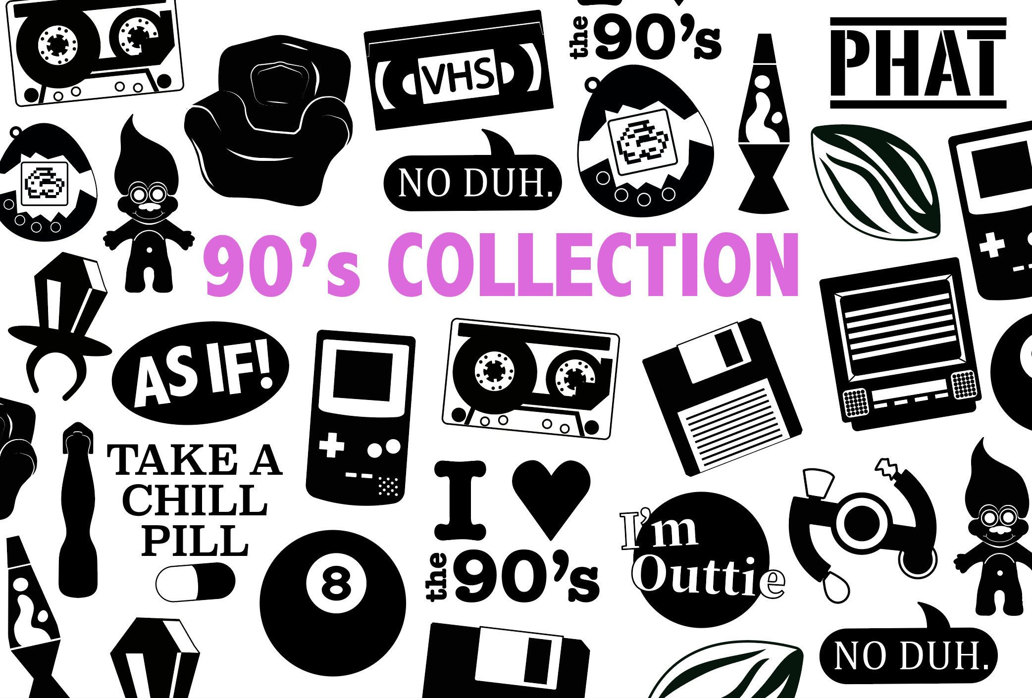90\'s SVG COLLECTION - 90s clipart, cut files, and 90s phrases for ... image transparent