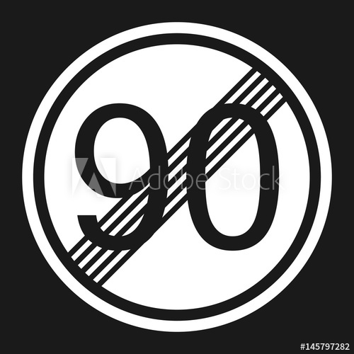 End maximum speed limit 90 sign flat icon, Traffic and road sign ... clip transparent library