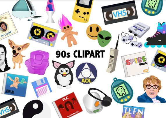 90\'S CLIPART - Retro 90\'s toys icons, Printable party decor, 90s ... image black and white library