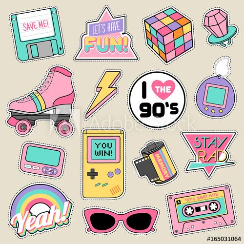 Set of fashion patches, cute pastel badges, fun icons vector in 90s ... clipart library