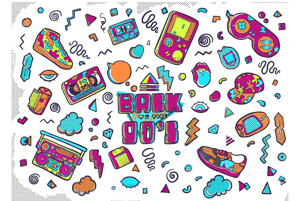90s clipart svg freeuse download Back to the 90s - graphic clipart By Art LaVika | TheHungryJPEG.com svg freeuse download