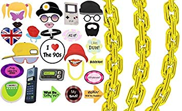 90s gold chain clipart clip art free Amazon.com: 90s Party Photo Booth Props Giant Gold Balloon Chain ... clip art free