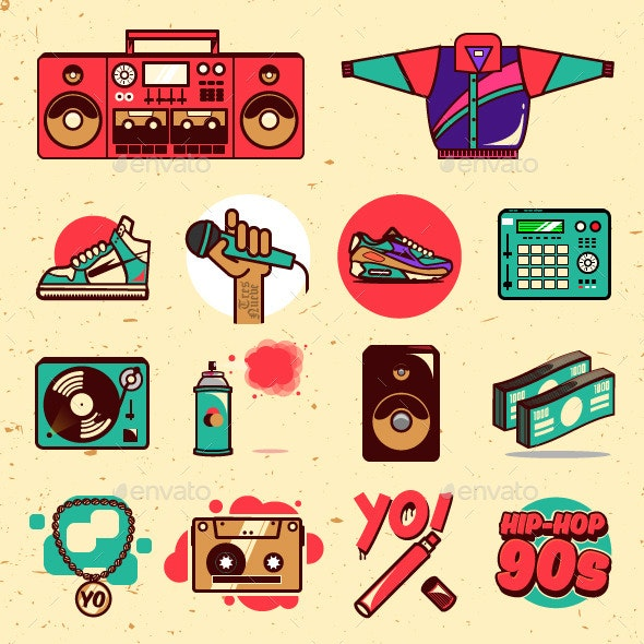 90s hip hop clipart royalty free Hip-hop 90s Illustrations Pack royalty free