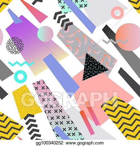 90s shape clipart picture freeuse download EPS Illustration - Vintage memphis geometric seamless pattern ... picture freeuse download